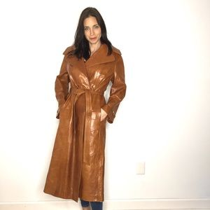 Vintage 70's Camel Tan Leather Belted Trench Coat